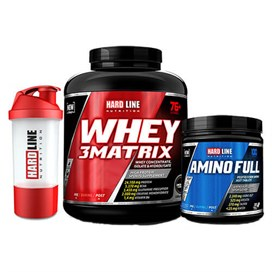 Hardline Whey 3Matrix 2300 gr+ Amino Full 300 Tablet+Shaker